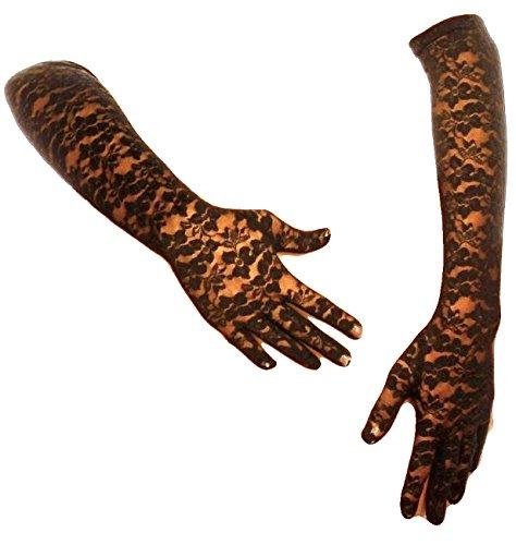 krautwear® Damen Handschuhe Spitze Ellenbogen Lang Abendhandschuhe Gerafft Braut Kurz Satin Schleife Schwarz Rot Weiss ()