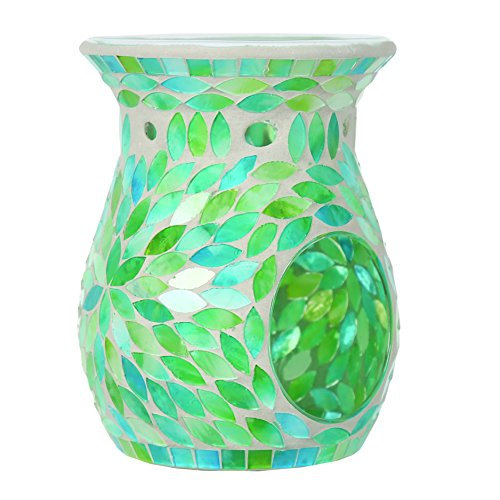 Aroma-Accessories-Mint-Petals-Mosaic-Wax-Melt-Burner-Green-14-cm