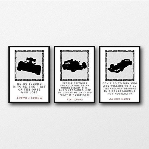 Set von 3 Racing Zitat-Drucke 11 x 14/8 x 10/5 x 7 A3 / A4 / A5 Druck, Geschenk für Formel-1-Fans