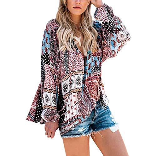 YunYoud Frauen Casual V-Ausschnitt Langarm Blumendruck T-Shirts gestreifte bluse damen marken blusen leinenbluse weiß bügelfreie hellblau pink Bluse online bestellen Tops