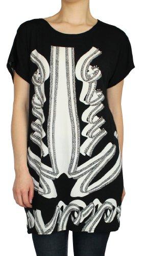 Damen Longshirt T-Shirt Kurzarm Shirt mit extravagante Muster - CX071-072 CX072