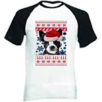 Teesquare1st SANTA BOSTON TERRIER 1 CHRISTMAS MANICHE CORTE NERE T-Shirt