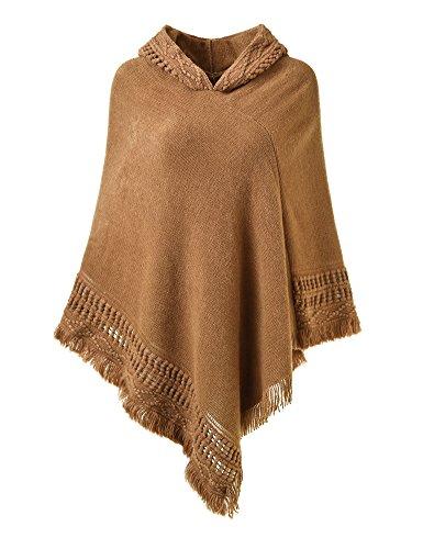 Ferand Damen Kapuzen Poncho mit Häkelborde, Cape für Frauen aus Strickmaterial mit Zierfransen, Karamel - Braune Fransen-jacke