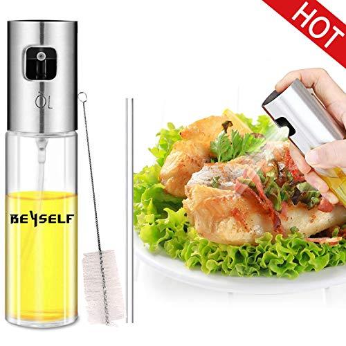 BeYself Öl Sprüher Flasche, Ölsprüher Oil Sprayer Olivenöl Sprayer Glas Öl Essig Spender Flasche Küche Werkzeug für Pasta / BBQ / Salate / Kochen / Backen / Braten / Grillen (100ml)