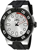 Invicta Men's Quartz Watch with Analogue Display and Black Silicone Strap