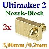 2x Ultimaker 2 Messing Block mit Düse 0,2mm für 3,00mm