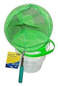 Idena 40083-Cubo de Pesca con asa, telescópica, Color Verde