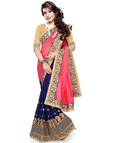 4Tigers Women's Pink & Blue Color Georgette Partywear Saree With Blouse Peice
