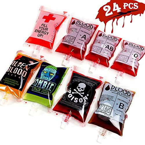 VAMEI 24 Stücke Halloween Blutbeutel für Getränke Wiederverwendbare Blutbeutel Getränkebehälter 250 ml und 150 ml für Halloween-bevorzugungen Liefert Zombie Thema Party