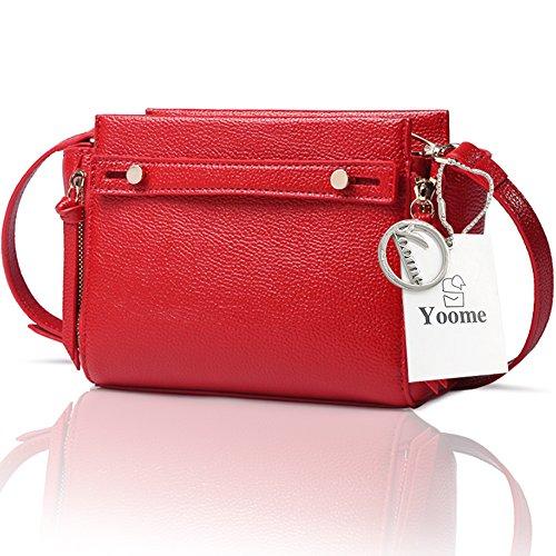 Yoome Lichee Modello Ali Pure Color Elegant Tote Ladies Borse Borse Coreane Per College - Rosso Rosso