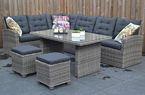 Di alta qualità da tavolo in grigio polyrattan eck lounge mobili da