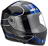 Nerve NH6008 Integralhelm Fullface Helm Motorrad Mofa Motorroller Helm Damen Herren Erwachsene, Schwarz-Blau, Größe L