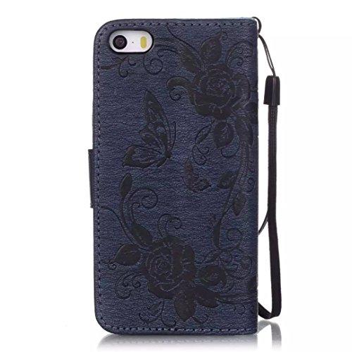 iPhone Case Cover Peint de couleur motif portefeuille style cas magnétique conception flip folio PU Housse en cuir couvrir cas standup pour iPhone 5S SE ( Color : Pink , Size : IPhone 5S SE ) Deongaree