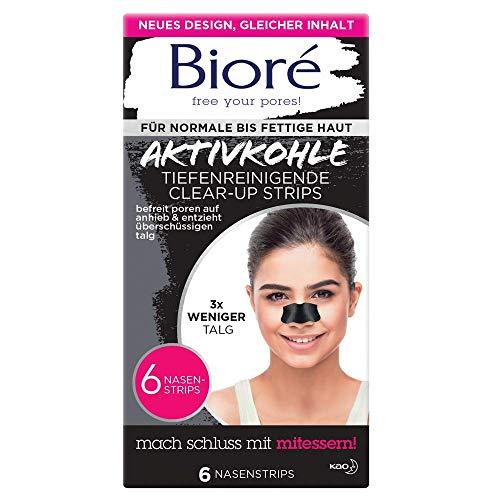 Bioré 6 Tiefenreinigende Aktivkohle Clear-Up-Strips - 2 X 6 Nasenstrips - Dermatologisch Getestet - Für Normale Bis Fettige Haut