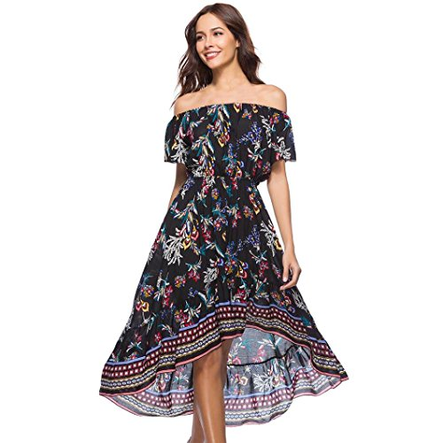 mer Elegant Off Shoulder Rose Blumen Schlitz Maxi Kleid Abendkleid Dress Strandkleid Neckholder Blumendruck Lang Strand Abendkleid (L, Schwarz) (Größe 26 28 Damen Kostüme)