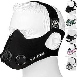GEEZ - Máscara de entrenamiento profesional para entrenamiento en altitud - Aumento de la aptitud física, máscara de respiración, máscara de entrenamiento, máscara de hipoxia, training mask (Black on Black, M)