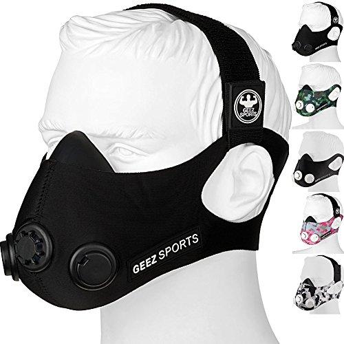 Geez 3-Modul-System Basic 60-95 kg Trainingsmaske für professionelles Höhentraining - steigerung der körperlichen Fitness Atemmaske Trainings Maske training Mask (Black on Black Size M/60-95kg)