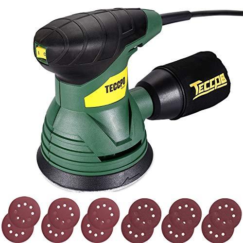 Exzenterschleifer, TECCPO 350W 14000 RPM 125mm Schleifmaschine, reinigbarer Staubbeutel, taubgeschütztem Schalter, 12 Schleifpapier, vibrationsarmes Schleifgerät, kraftvolles Motor -TARS22P