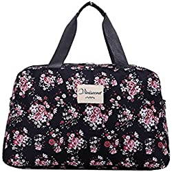 Di Grazia Women's Floral Travel Shopping Tote Luggage Bag (Black, Black-Large-Shopping-Travel-Bag)