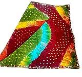 #9: Fancy Multi colour Mirror type border work Bandhani Dupatta Pure Rajasthani Bandhej