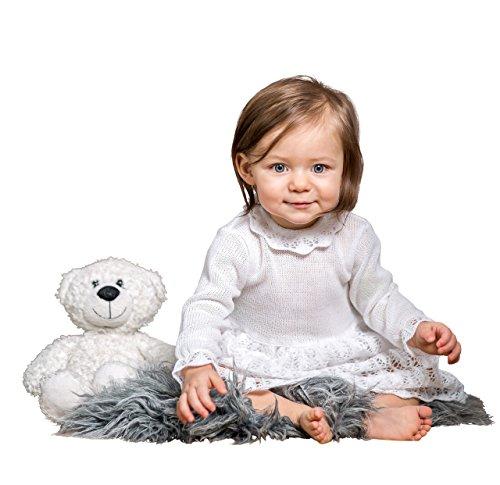 BIMARO Baby Mädchen Taufkleid Ruby Babykleid weiß Kleid festlich Set Strick Häkellook Mütze Hochzeit Taufe Strickkleid, Größe:86