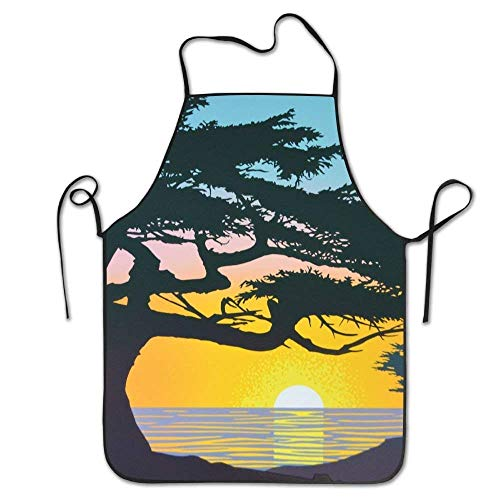 Drempad Premium Unisex Schürzen, Novelty Cypress at Sunset.JPG Kitchen Cooking Chef Apron Suitable for Domestic and Professional Purposes (Schürze Cypress)