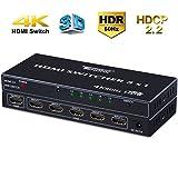 Tendak HDMI Switch 4K 60Hz 5 Port HDMI Switcher HDMI Umschalter HDMI Verteiler Automatische mit Fernbedienung Unterstützung HDCP 2.2, HDR, YUV 4:4:4, 18Gbps