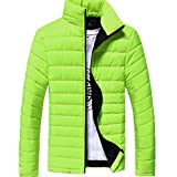 Herren Jacke Btruely Stand Collar Daunenjacke Herbst Winter Männer Slim Mantel Warm Zipper Outwear (L, Licht Grün)