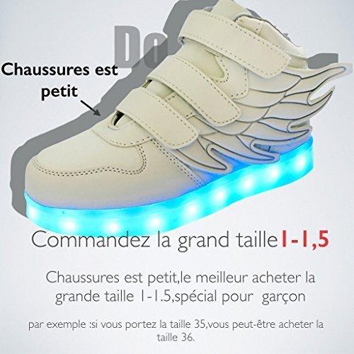 DoGeek LED Schuhe Blau Grau Kinder Damen 7 Farbe USB Aufladen Leuchtend Sportschuhe LED Kinder Farbwechsel Sneaker Turnschuhe für Herren Damen (Bitte Bestellen Sie eine Nummer grösser) Schwarz
