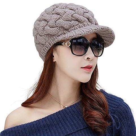Siggi - Bonnet casquette à visière pour femme, en laine de coton épaisse tricotée, couleurs variées - beige - taille unique