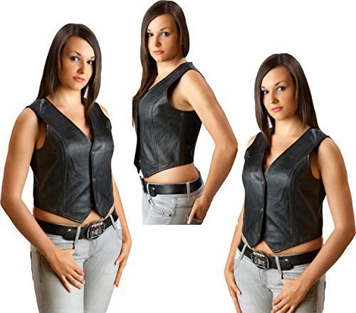 And Dance Stars Stripes Kostüm - Lederweste Damen Biker Lady Leather vest Western Gr. M Wild West Line Dance Kleidung