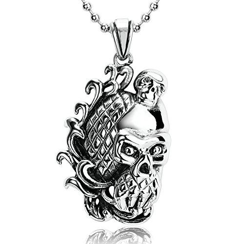 Beydodo Edelstahl Halskette mit Anhänger Herren Vintage Schädel Totenkopf Silber Kette Hip Hop Partnerkette