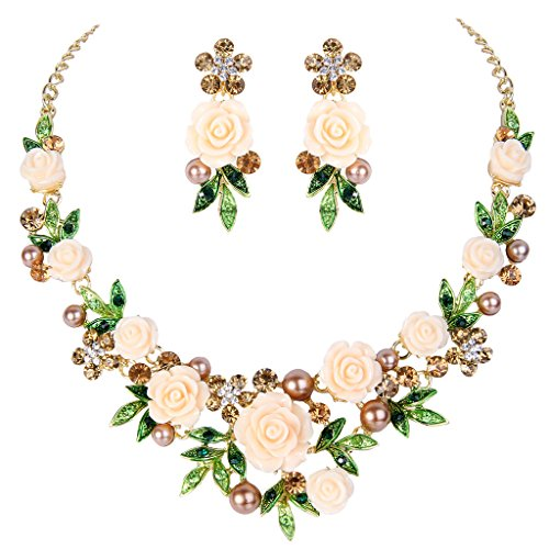 EVER FAITH® Gold-Ton Kristall künstliche Perle Frühling weiß Rose Blume Blatt Halskette Ohrringe Set (Perlen Gold Set)
