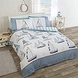 Nautisch Segeln Boote Anker blau weiss Baumwollmischung Doppelbett Bettwäsche