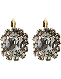 Manon de Brécourt - Boucles d'oreilles à cristaux Swarovski® Black Diamond de forme ovale sur monture vieil or