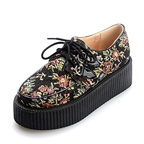 RoseG Femmes Broderie Lacets Plate Forme Gothique Punk Creepers Chaussures Taille40