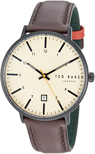 Ted Baker Men's 'HARRIS' Quartz Stainless Steel and Leather Casual Watch, Color:Brown (Model: TE50080002)