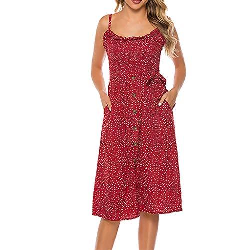 Yvelands Damen Tank Kleid Mode Sexy V-Ausschnitt Solid Color Sling Punkte Gabel ärmelloses (Tote Alice Im Wunderland Kostüm)