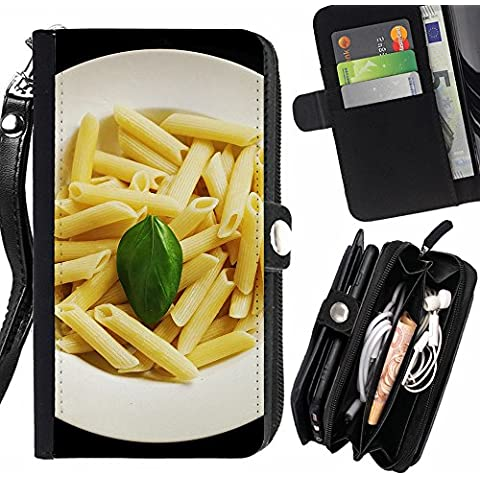 Peach Tech Portafoglio in pelle della Carta di Credito fessure PU Holster Cover in pelle case SAMSUNG Galaxy Note5 / Note 5 Duos / N920 / Lunch Pasta Food Meal