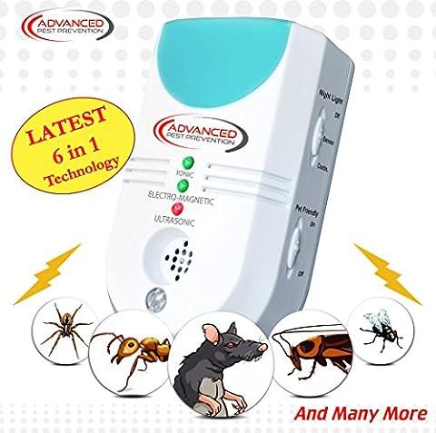 Ultraschall Schädlingsbekämpfung, Elektronisch, 6 in 1, EU-Stecker, Biologische Schädlingsbekämpfung für Haus und Wohnung, Bekämpft Mäuse, Maus,Nagetiere, Spinnen, Ameisen, Motten, Insekten & mehr, Elektromagnetisch & Ionisch, Eingebautes Nachtlicht, Einfach Einstecken für die Insektenabwehr, Haustier- & Kindersicher Verhinderung