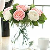 Artificial Flowers,Fake Flowers Silk 6 Heads Plastic Roses Wedding Bouquet Flower Arrangement for Home Decor Party Centerpieces Decoration (pink white)