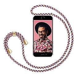 """ZhinkArts Handykette kompatibel mit Apple iPhone 7 / iPhone 8-4,7"""" Display - Smartphone Necklace Hülle mit Band - Schnur mit Case zum umhängen in Bordeaux/Rot Camouflage"""