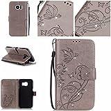 Nancen Samsung Galaxy S7 Edge / SM-G9350 (5.5 pouces) coque , PU Cuir Portefeuille Etui Housse Case Cover , carte de crédit Fentes pour , L'utilisation de la technologie de pointe , gaufrage , cristal de diamant - Fleur - Butterfly , idéal pour protéger votre téléphone ,