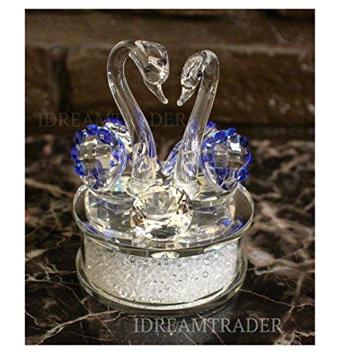 Idream commerciante twin swan crystal cut glass like swarovski element bellissimo ornamento, decorazione da tavolo, ideale come regalo, vetro cristallo, blue
