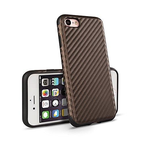 VAPIAO iPhone 8 iPhone 7 Schutzhülle Hülle Back Hard Cover Case TPU Bumper in Carbon Optik in Braun