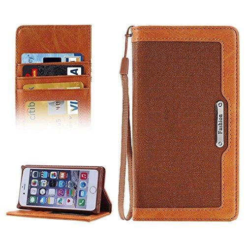 Wkae Case Cover Denim Texture Magnetic Horizontal-Schlag-Leder-Kasten mit Halter &Karten-Slots und Brieftasche &Lanyard für iPhone 6 &6s ( Color : Magenta ) braun