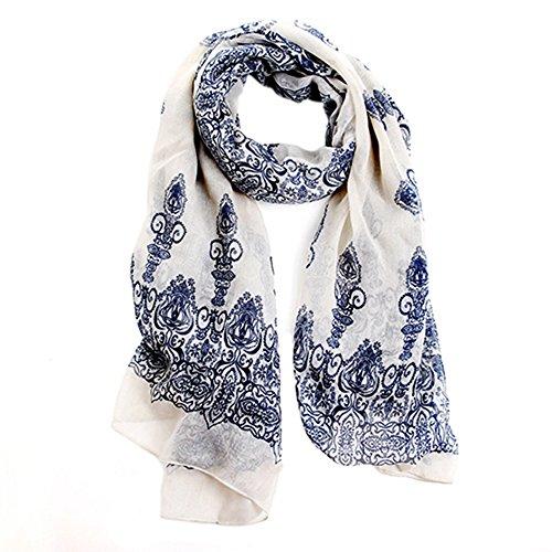 - 51Emy2SUFEL - Broadfashion Women's Autumn Spring Fashion Soft Big Long Scarf Vintage Printing Scarves (Creamy White)
