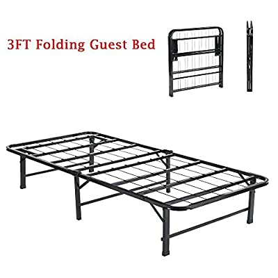 AJIE 3FT Solid Single Folding Guest Bed with Metal Frame for Kids Adults - Black