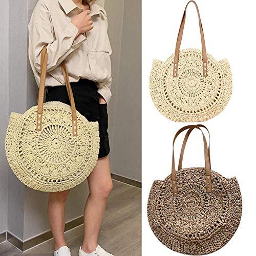 Hanf Messenger Tasche (Chengstore Handtasche, gewebte Summer Beach Messenger Bag Handtasche Shopper Geldbörse Schulter Tragegriff Strohgeflecht Handtaschen Runde Algen Gewebte Tasche)
