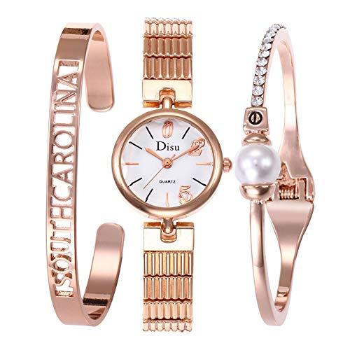 Hswt Damenuhr Armband Armband gesetzt Damenarmbanduhr, dreiteilig Gold und Silber Schmuckset Zubehör ansehen, Rose (Michael Kors Rose Gold Herren Uhr)
